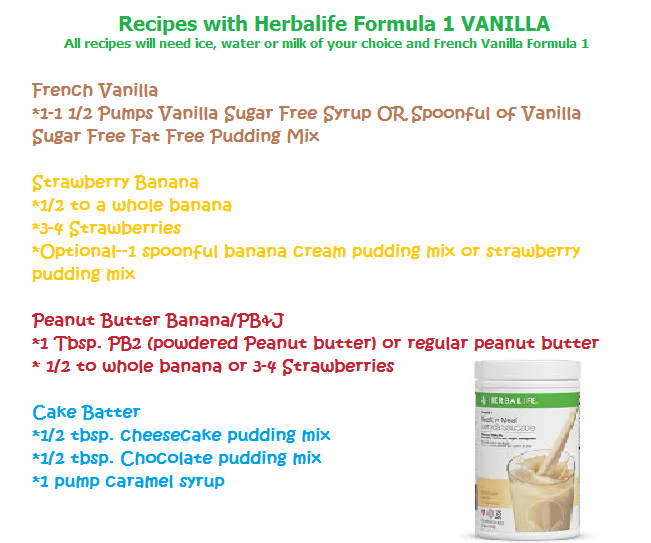 French Vanilla Herbalife Recipes Cake Batter PBJ Strawberry Banana Shake