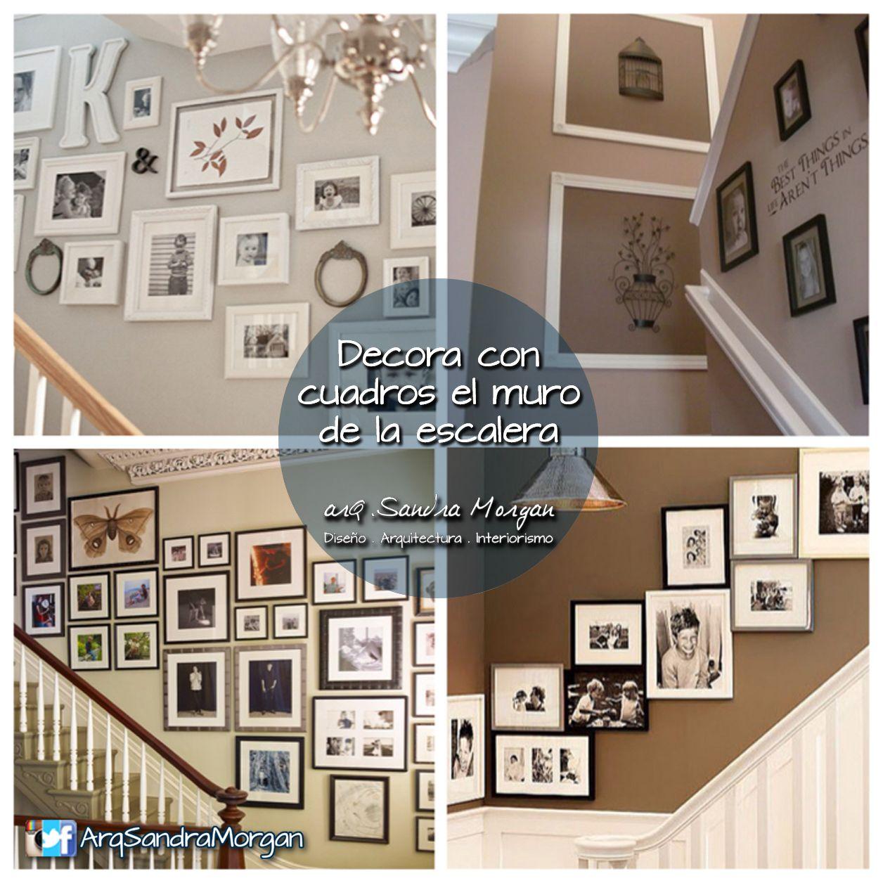 Crea una hermosa galer a en el muro de tu escalera con for Cuadros para escaleras