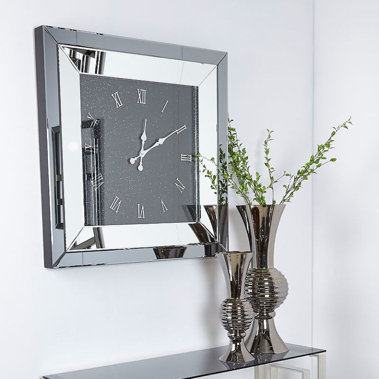 Large Smoked Glass Mirrored Square Wall Clock 90 x 90cm ...