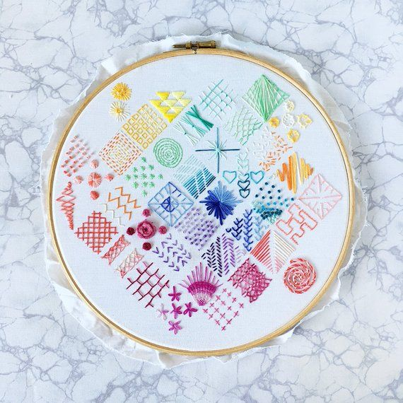 Beginners Embroidery SAMPLER PATTERN ONLY – Embroidery Pattern  – Downloadable – Digital