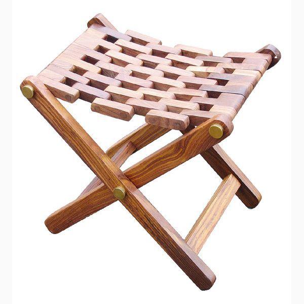 Klapphocker Holz/Messing, 48x35x45cm