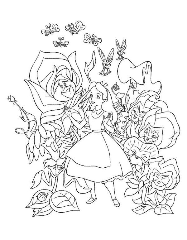 Alice In Wonderland Coloring Pages Picture 4 Alice Pinterest