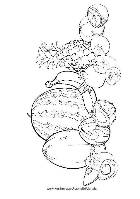 ausmalbild verschiedene früchte …  pinteres…