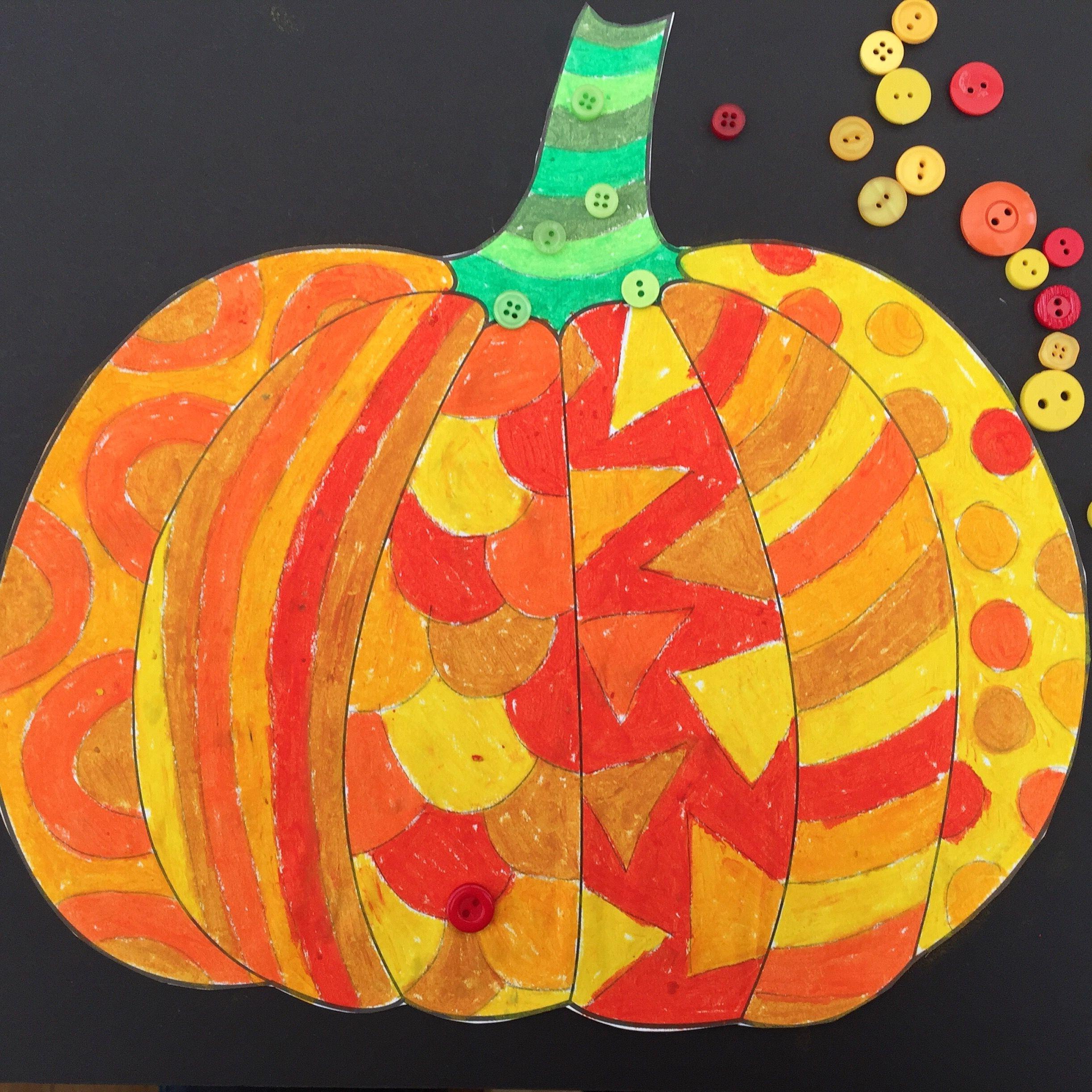 Oil pastel pattern pumpkin activity with a splash of buttons | Art ...