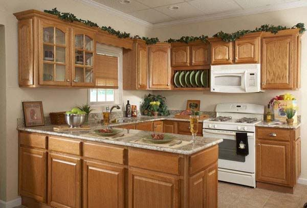 Kitchen With White Appliances Re Oak Cabinets And White