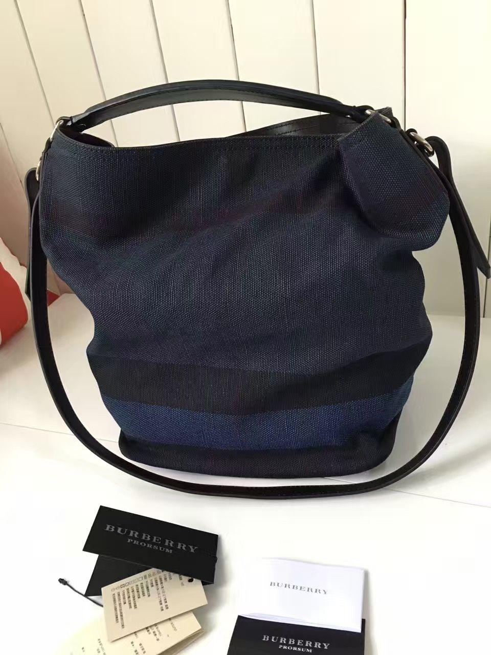d928f8e5c1d Burberry Medium Ashby Bag In Overdyed Canvas Check and Leather 40125591 Blue