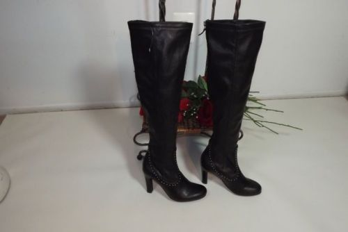 FRANCO SARTO Artist Collection Hot Jazzy BLACK Metal Studs Boots Shoes Size 5