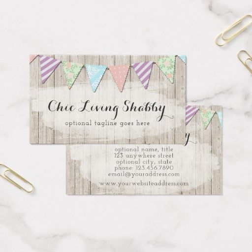 Shabby chic country bunting on rustic painted wood business card shabby chic country bunting on rustic painted wood business card party boutique branding marketing by reheart Image collections