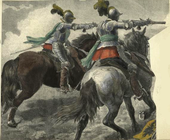 French heavy cavalry at the battle of Ivry (1590).