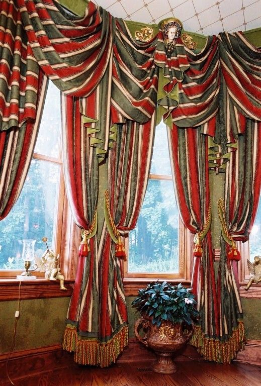 High Victorian Bay Window Treatment Swags And Jabots Draped Over Velvet  Cornices.Custom Window Treatments