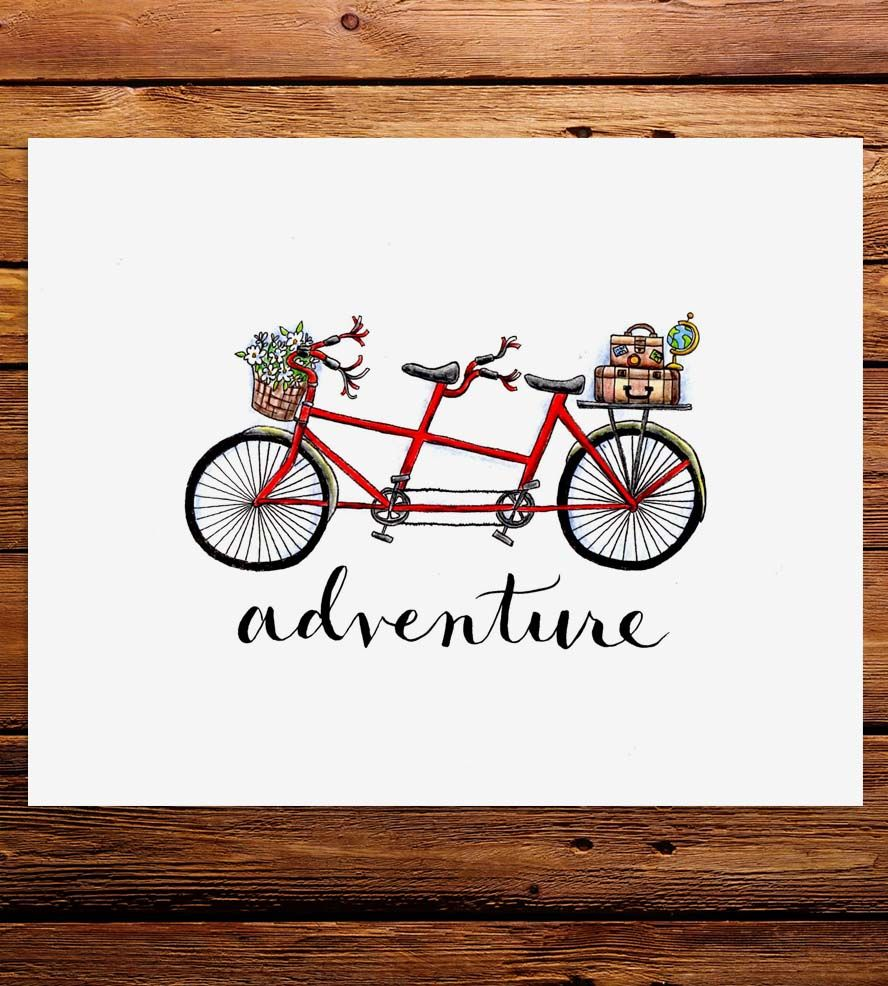 Adventure Tandem Bicycle Art Print Trips Studios And Print