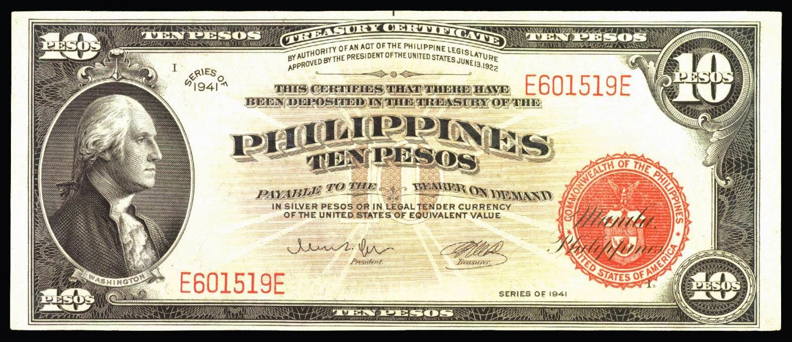 Currency Of The Philippines American Issues 1898 1946 10 Pesos Treasury Certificate 1941 George Washington