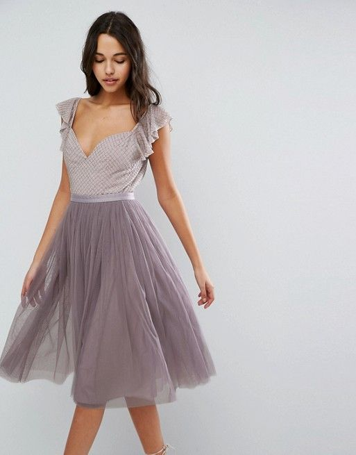 Needle & Thread Swan Tulle Midi Dress With Frill Sleeve in purple ...