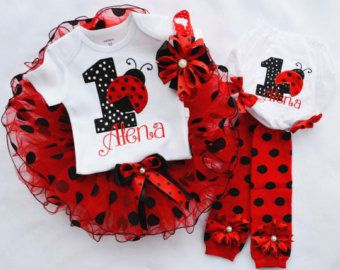 foto de Ladybug Birthday Outfit First Birthday Outfit girl Cake