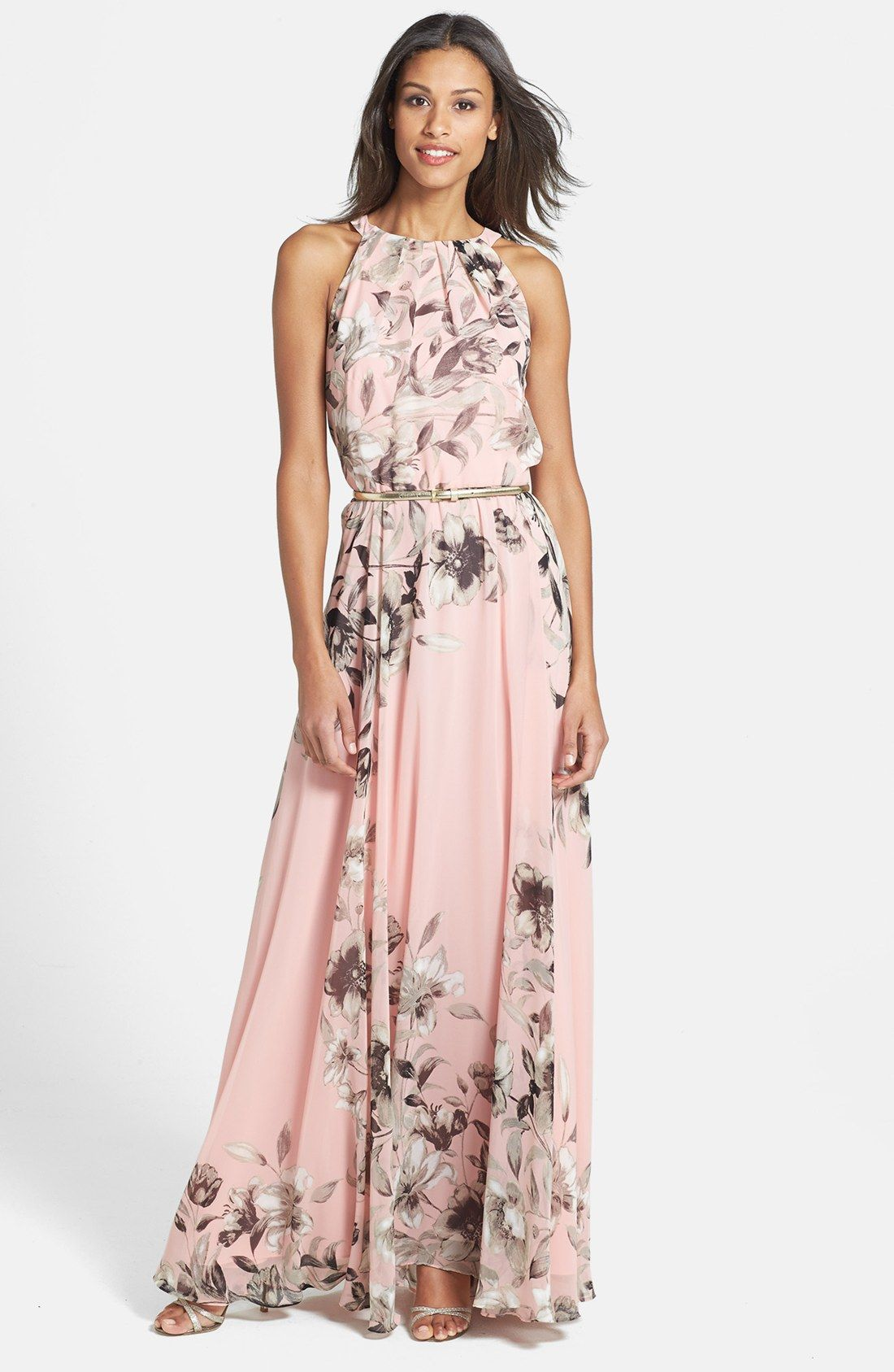 0d3fdec7454 Free shipping and returns on Eliza J Belted Chiffon Maxi Dress (Regular    Petite) at Nordstrom.com. Face-framing pleats crown the bodice of this  romantic