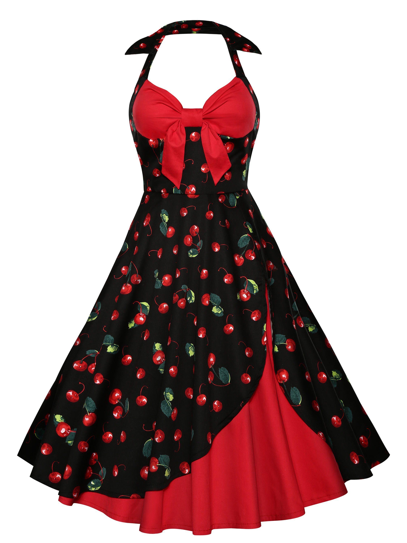 Vintage Cherry Dress Red Print Halter Skater M MzqpLUSVG