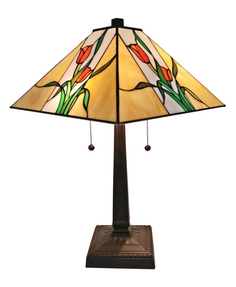 Am200tl14 Floral Mission Tiffany Style Stained Glass 2l Table Lamp
