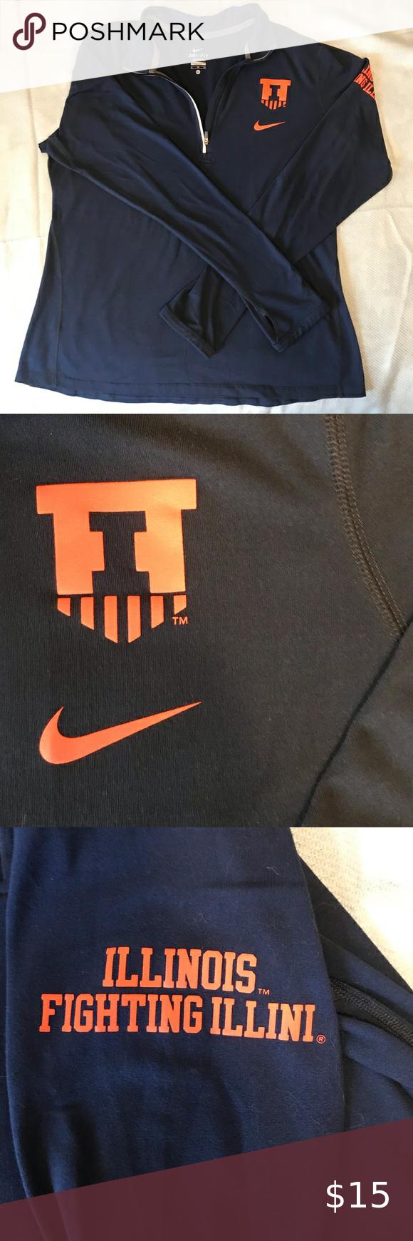 Nike University Of Illinois Half Zip Nike Half Zip Sweatshirt Tops Half Zip [ 1740 x 580 Pixel ]