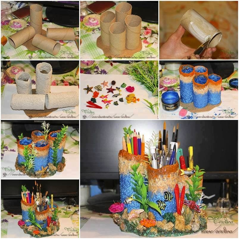 Creative hand made pen and pencil stand for kids made from for Use of waste material in decoration
