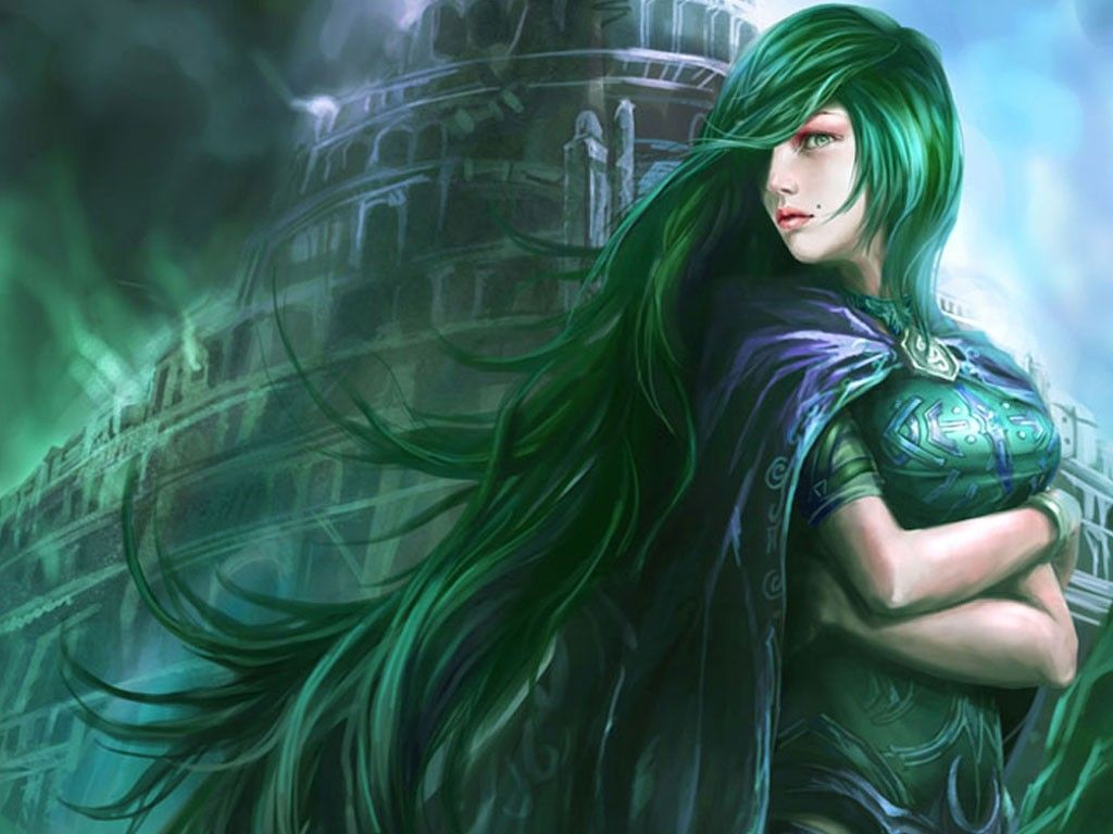 Green Women Tower Long Hair Green Hair Fresh New Hd Wallpaper