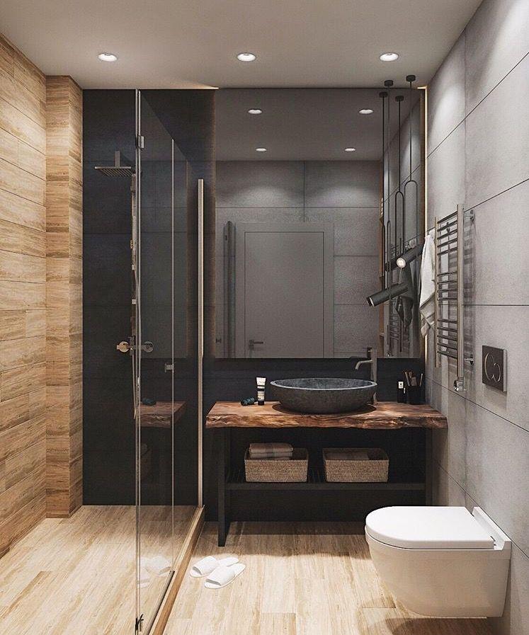 Nous Aimons Bien La Tablette De Bois Et La Vasque Idee Salle De Bain Salle De Bain Design Amenagement Salle De Bain