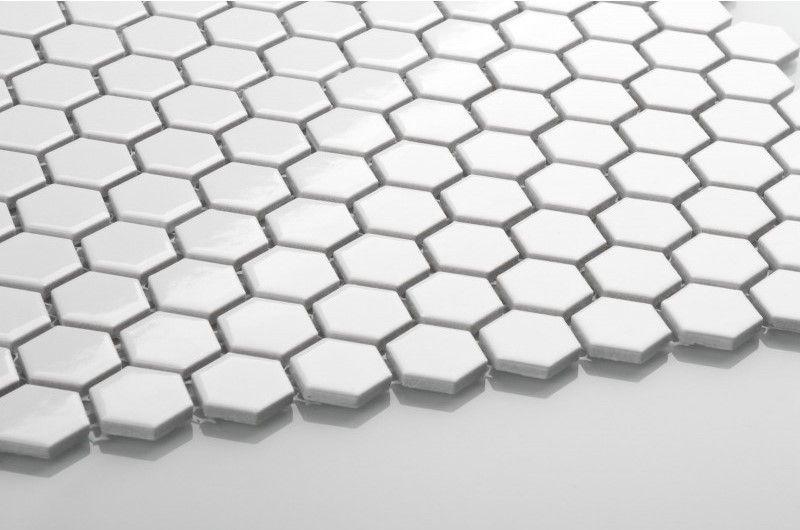 Hexagon weiß Kleine glänzende Mosaikfliesen
