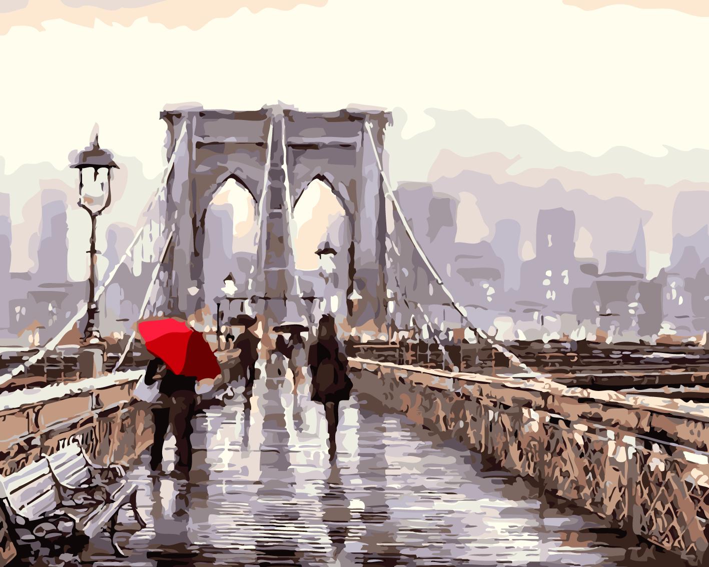 2017 diy bridge crowd digital painting by numbers kits acrylic