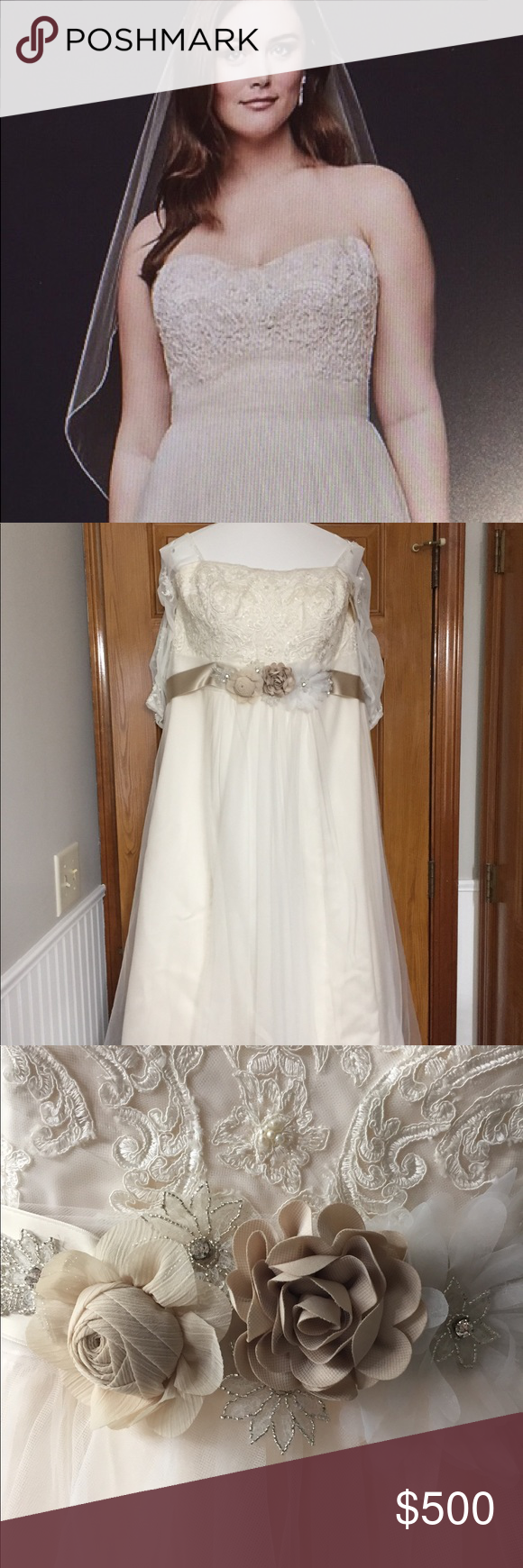Bridal gown ivorychampagne with sleeves nwt in my posh