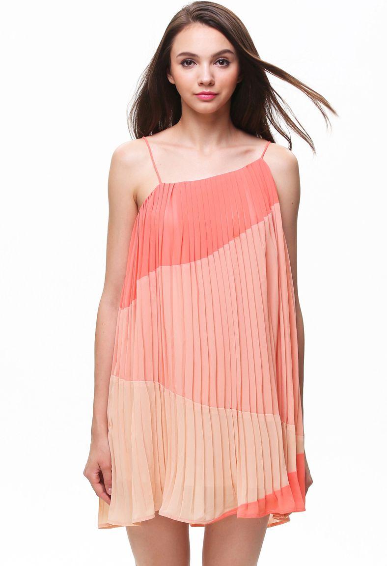 Pink Contrast Orange Strap Pleated Shift Dress | Fashion & Design ...
