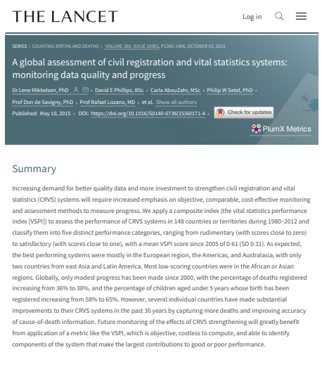 A Global Assessment Of Civil Registration And Vital Statistics Systems Monitoring Data Quality And Progress Con Immagini Lettura