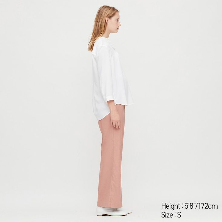 UNIQLO Women's Rayon Stand Collar 3/4 Sleeve Blouse, Orange, L