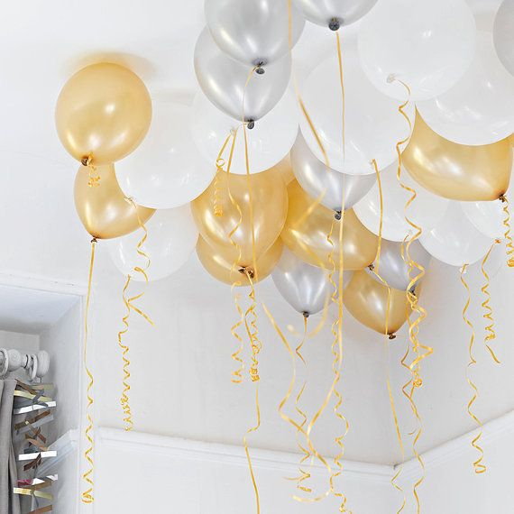 30 X 12 Inch White Gold Silver Balloons By Candycupcakeshop