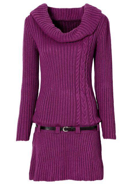 Strickkleid mit Gürtel | Strickkleid, Kleider, Modestil