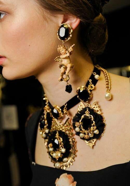 Dolche y Gabbana 2016 jewellery jewelry earrings set, oniks set, baroque jewellery, angel earrings