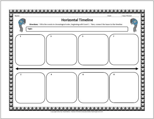 These free graphic organizers include note taking charts - timeline template for kids