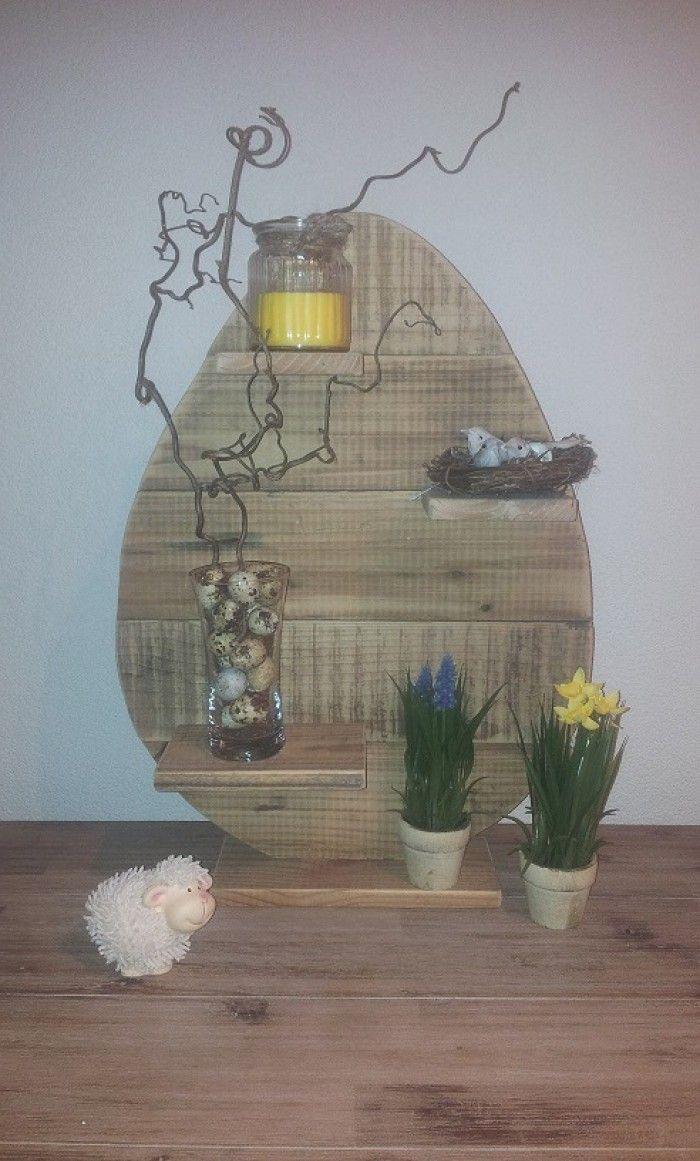 Pasen paasei hout houten decoratie van hout pinterest for Houten schijven decoratie