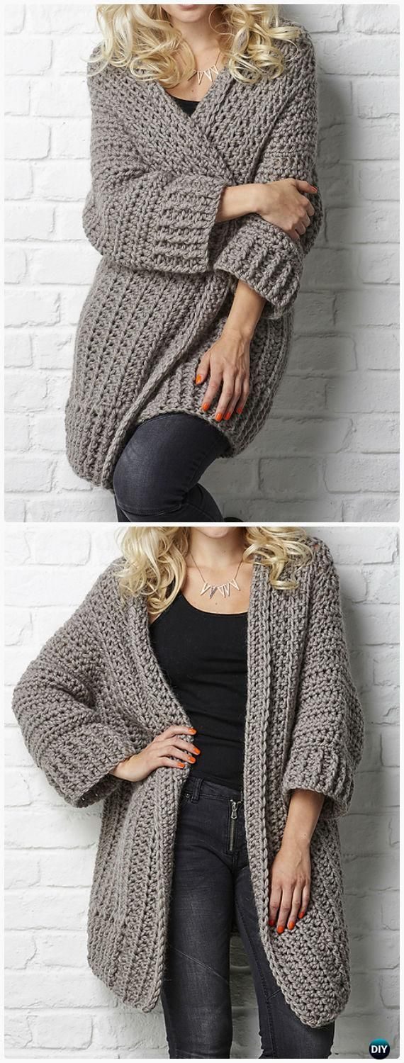 0ccbbf8a9ea0 Crochet Big Chill cardigan Pattern -  Crochet Women Sweater Coat-Cardigan  Free Patterns