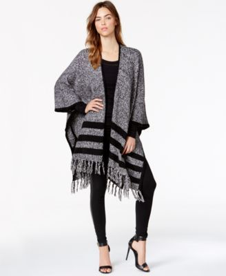 a0058ad0b kensie Striped Fringe-Detail Sweater Poncho | Currently Coveting in ...