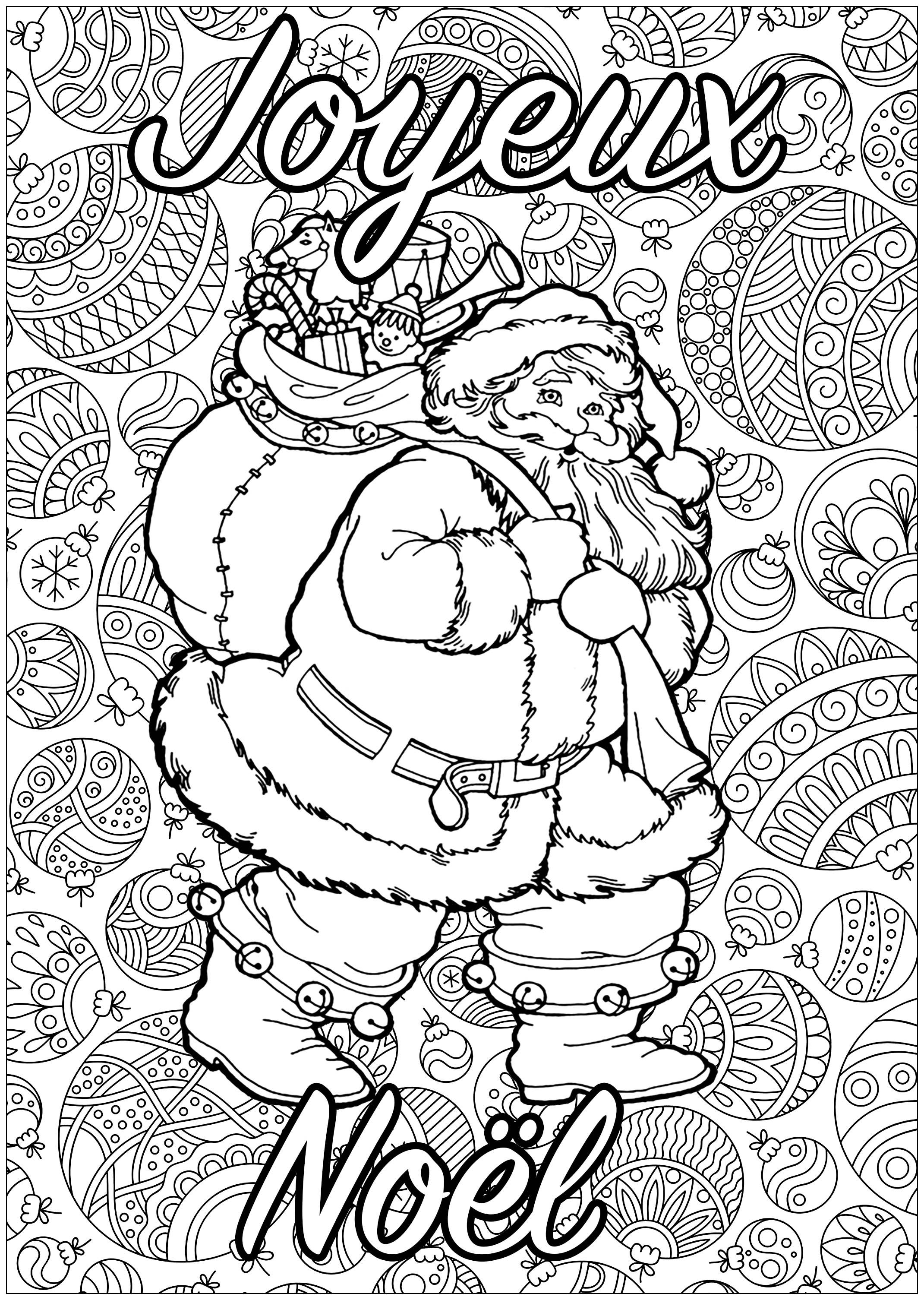 Père Noël à Colorier Avec Fond Plein De Motifs Et Texte Joyeux