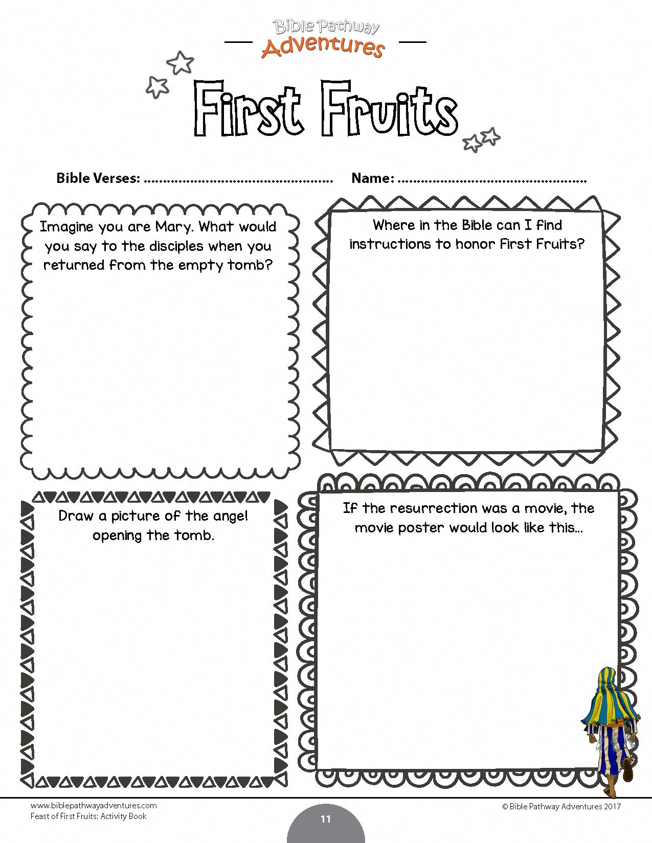 Printable First Fruits Worksheet For Kids