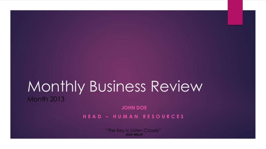 Hr Monthly Business Review Sample Presentation By Jeya Ganesh