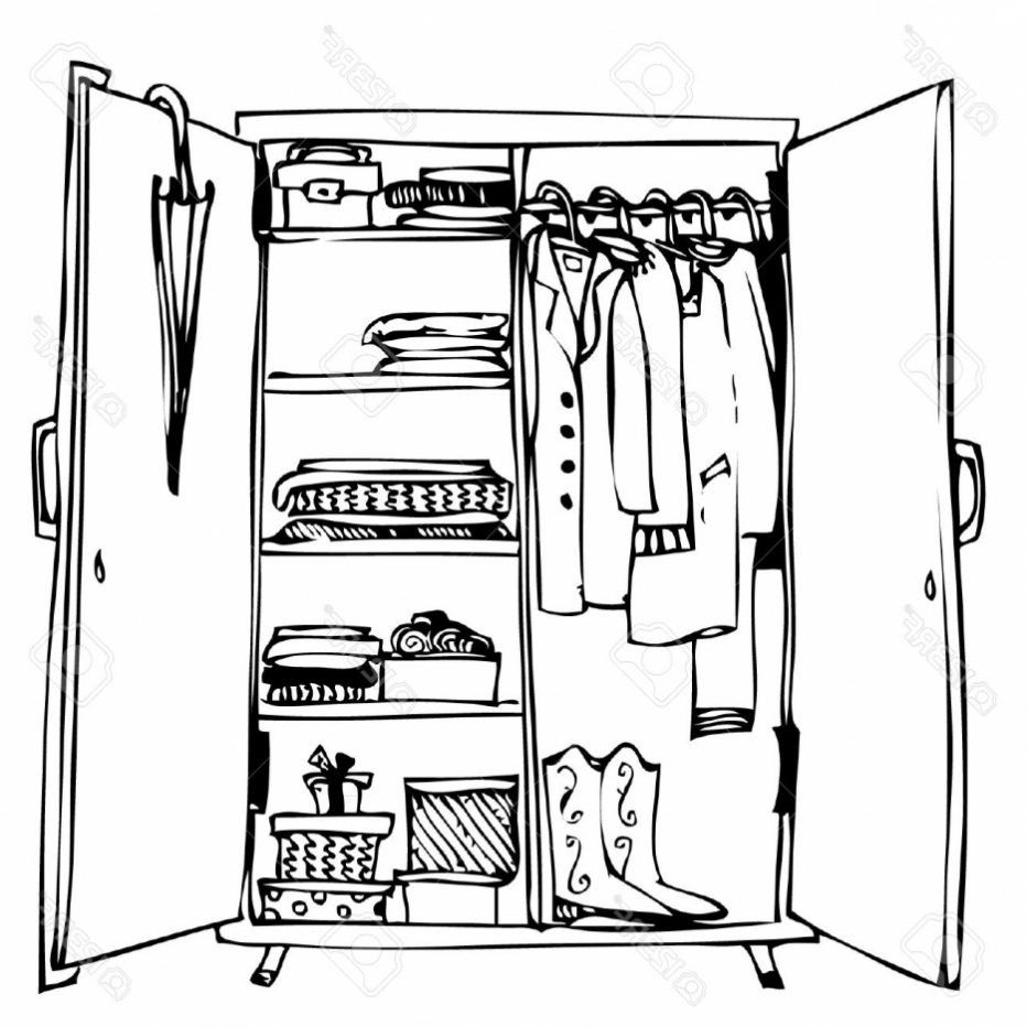 Open Cupboard Clip Art: Innenarchitektur : Cool Wardrobe Clipart Black And White