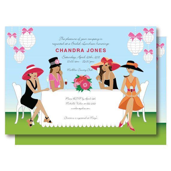 African American Bridal Shower Big Hat Ladies Champagne Brunch – Garden Party Invitation Wording