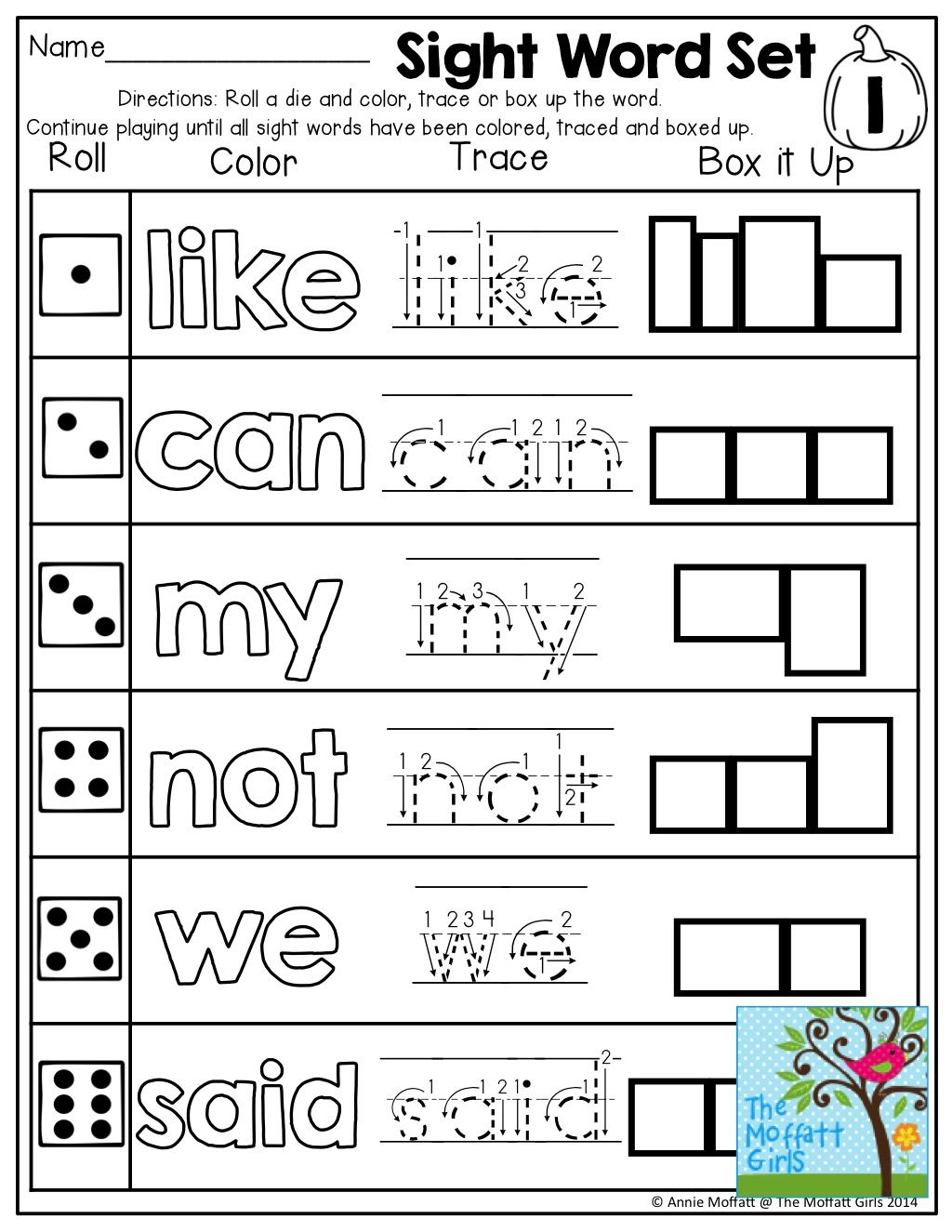 Sight Word Practice Roll A Color Trace Or Box Up A