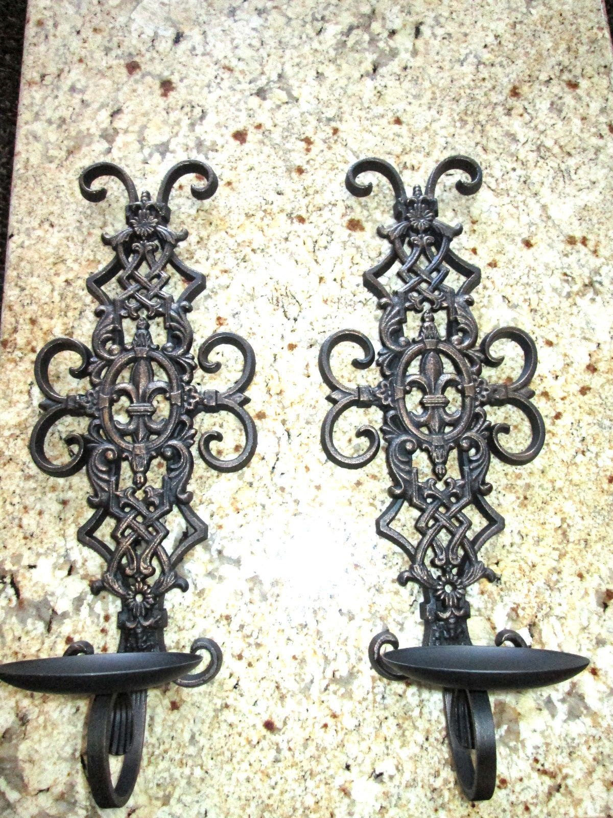 Set Of 2 Iron Wall Candle Holders Sconces With Fleur De Lis Old World French Country