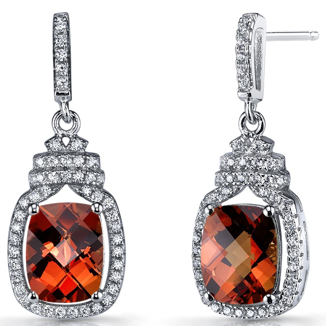 Oravo Red/Orange Padparadscha Stones and Sterling Silver Metal Halo Crown Dangle Earrings (6 ct Created Padparadscha), Women's, Size: Small