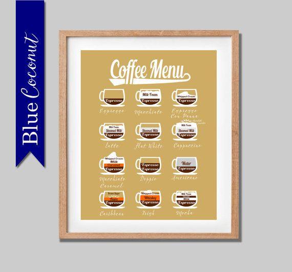 Coffee Menu- Barista style- espresso- cappuccino Mocha kitchen wall ...