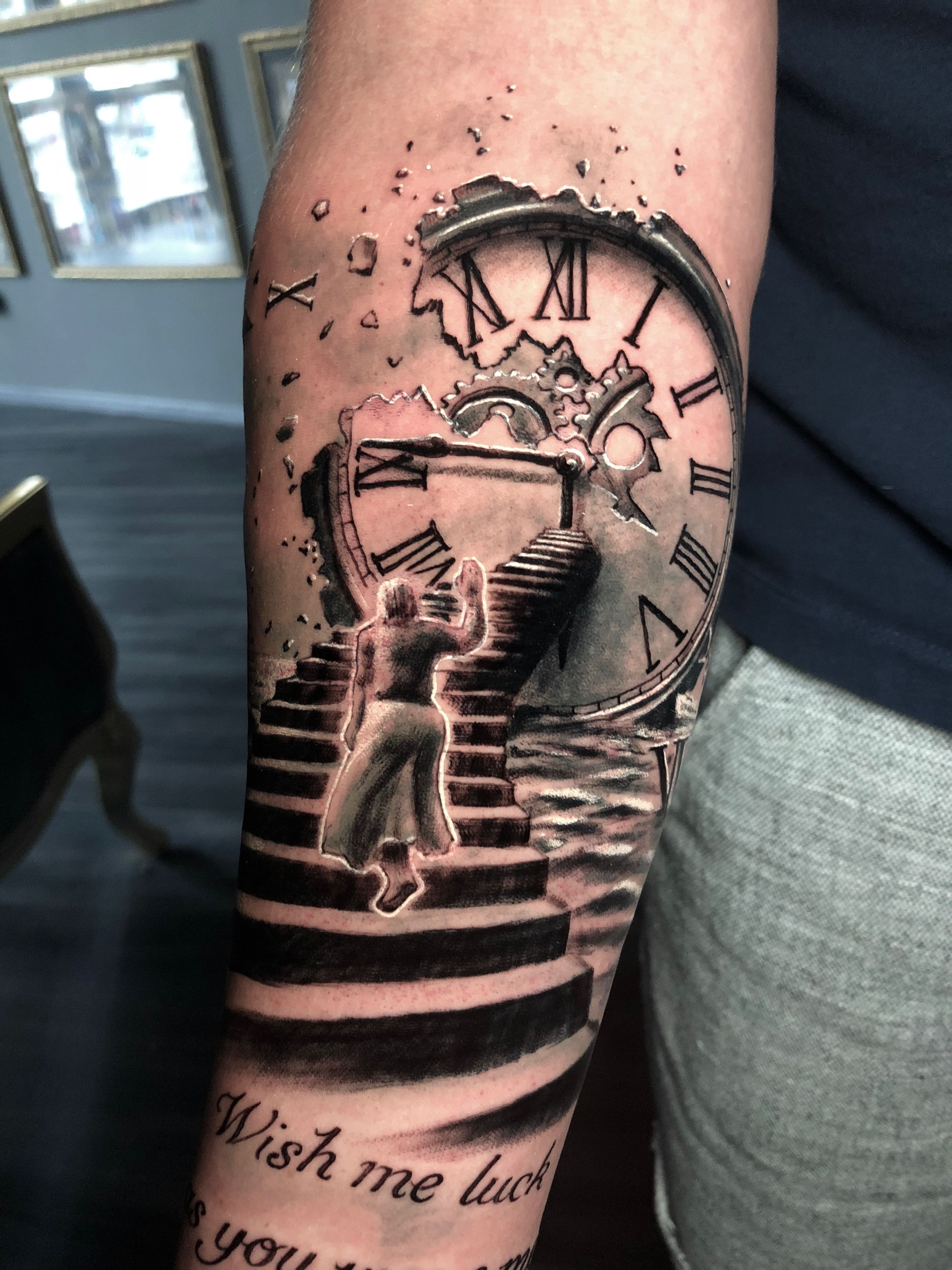 975784581 Stairs Clock Tattoo by Roberto. Limited availability at Redemption Tattoo  Studio.