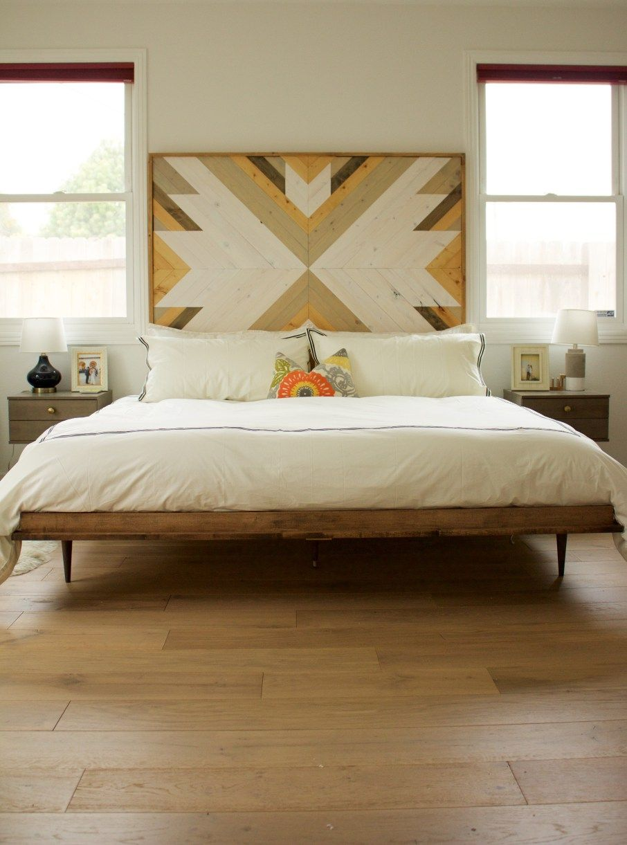 Midcentury Modern Bed Wooden Headboard Modern Bedroom