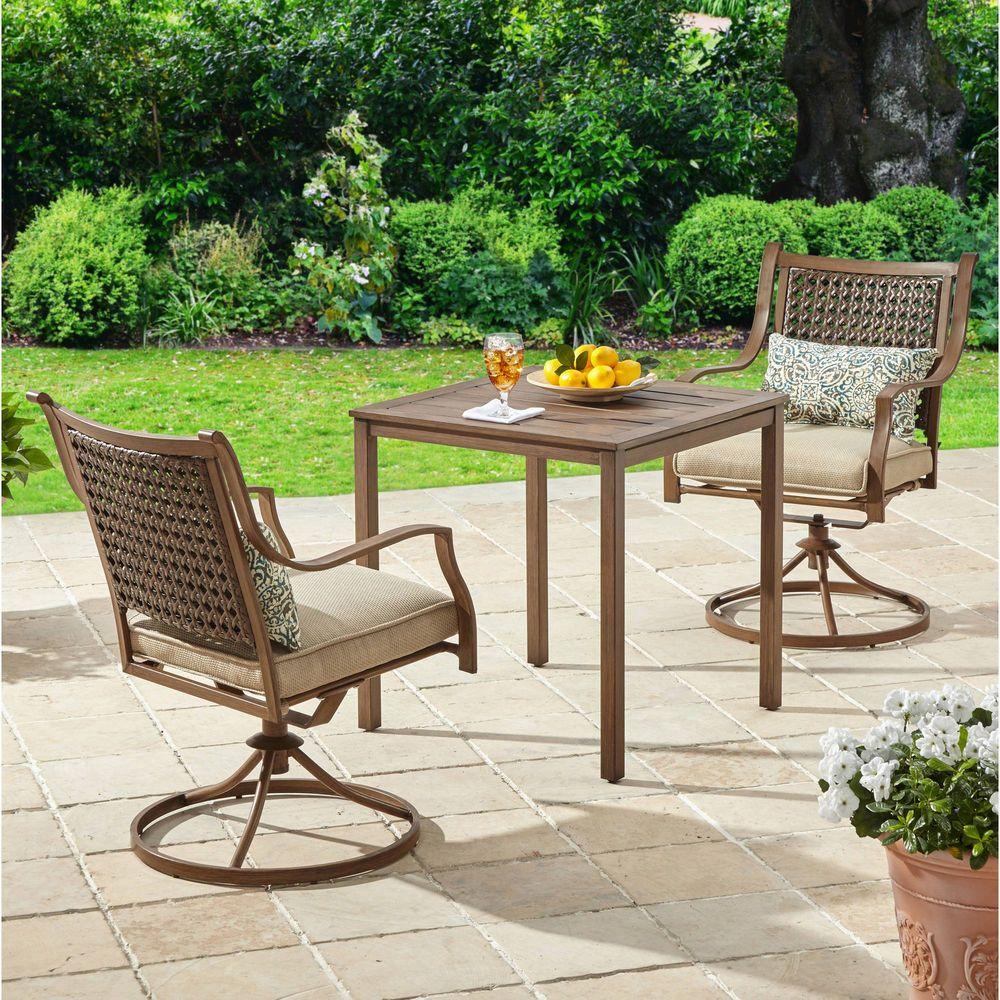 5 Piece Patio Garden Bistro Set Pillows Furniture Table Swivel